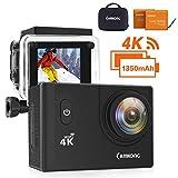 CAMKONG 4K Action Cam WIFI Sport Camera con Custodia Impermeabile 20 MP 170° Grandangolare 2.0 Pollici due 1350mAh Batterie e Kit Accessori con Pacchetto Portatile (Nero)
