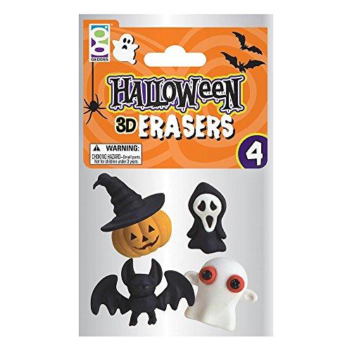 5 x 4er Set Halloween Charakter 3D Radierer als Halloweendekoration Streudeko oder als Mitgebsel. (Geist, Fledermaus, Kürbis, - Halloween-fünf Kürbisse Kleine
