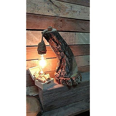 Lámpara de mesa con tronco de madera
