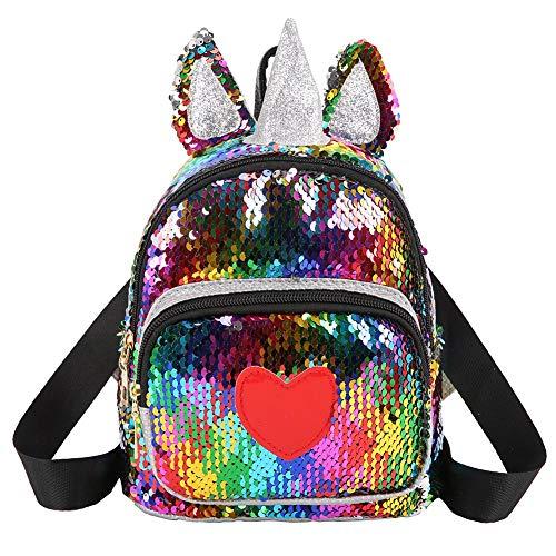 Demiawaking Zaino con Paillettes Glitterati Zainetto con Orecchie e Corna di Animali Zaino da Viaggio Casual Borsa da Scuola per Bambina Ragazze (Multicolore)