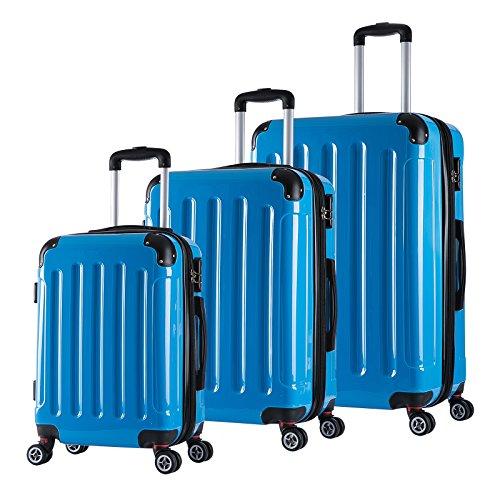 WOLTU RK4212bl, Reise Koffer Trolley Hartschale Volumen erweiterbar, Reisekoffer Hartschalenkoffer 4 Rollen, M/L/XL/Set, leicht und günstig, Blau 3er Set (M+L+XL)