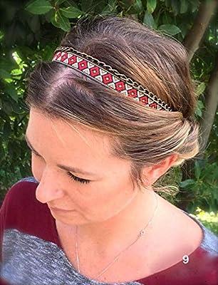 Cadeau pour femme : Headband éthnique, Bijoux de tête, Bandeau pour cheveux ethnique et sa chaîne en bronze