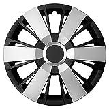 14 Zoll Bicolor Radzierblenden SPORTIVO DUO (Silber/Schwarz mit Chromring). Radkappen passend für fast alle FORD wie z.B. Fiesta MK6