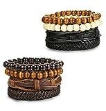 Sailimue 8PCS Boules Bracelets Cuir pour Homme Femme Boule Bois Bracelet Manchette...