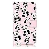 iPhone 5 / 5S / SE Hülle, Chreey [Geprägte Muster] Kratzfestes Flip Case Ledertasche Magnet Klapp Etui Handyhülle [Panda] + B
