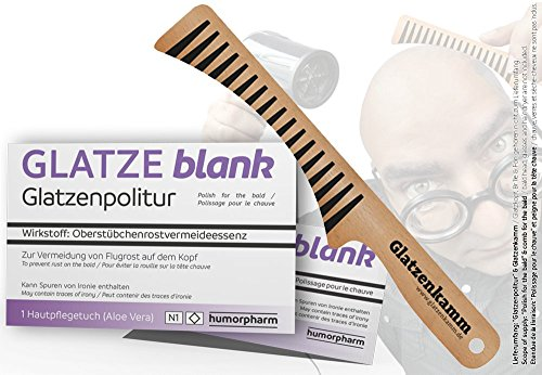 Glatzenpolitur GLATZE blank & Glatzenkamm (Geschenk-SET) - Politur für die Glatze und Glatzen-Kamm im Set - Scherzartikel -