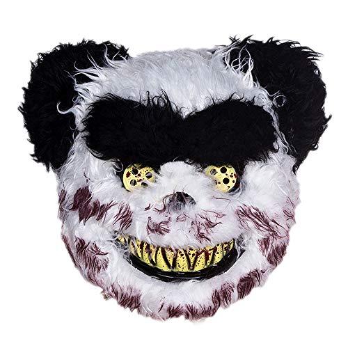 (Maske YN Halloween Kinder Maskerade Halbes Gesicht Weibliche Horror Teddybär Tier Kunststoff Party Leistung Requisiten Schwarz Und Weiß)