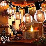Lichterkette Außen FOCHEA Lichterkette Glühbirnen 9.5m 28er Globe Birnen Lichterkette Garten für Weihnachten Hochzeit Party Aussen Dekoration Warmweiß
