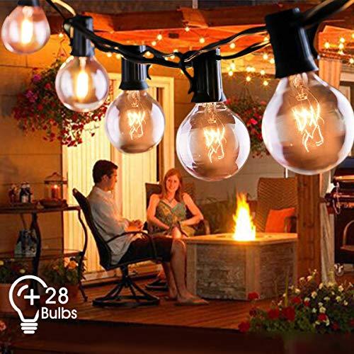 Lichterkette Außen FOCHEA Lichterkette Glühbirnen 9.5m 28er Globe Birnen Lichterkette Garten für Weihnachten Hochzeit Party Aussen Dekoration Warmweiß -