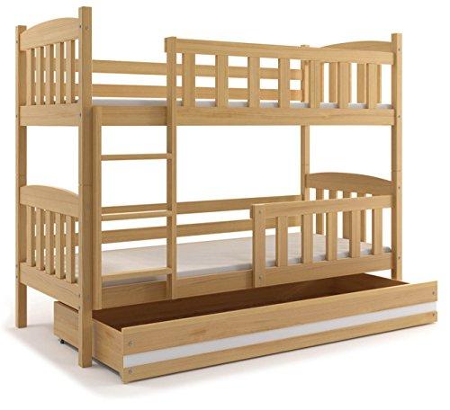 Interbeds Etagenbett QUBA 190x90 mit Lattenroste, Matratzen und Schublade in WEIβ, GRAU, ERLE UND KIEFER (Kiefer + weiβ)