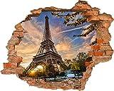 Fototapete 3D Bild Tapete Loch in der Wand Eiffelturm Eiffel Paris Frankreich Himmel und Wolken