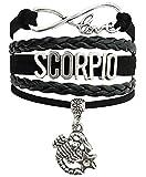 Mehrunnisa Multi-Layer Black Leather Infinity Love Scorpio Zodiac Sign Band Bracelet For Girls (JWL1869)