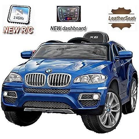 BMW X6 Azul Lacado, Asiento Tapizado, Los niños del coche, los niños del coche eléctrico, coche niños, 2x motor, batería de 12 V, con mando a