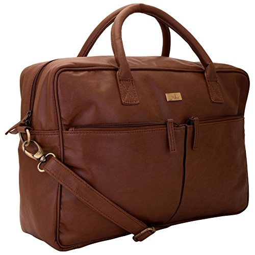 Yelloe Spacious laptop bag with two front pockets in tan