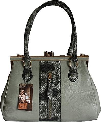 H&G Ladies Designer Tote \ Shoulder Handbag with Animal Print Detail