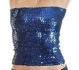 Bandeau-Top / Minirock, Pailletten, stretch, Größe 32-40 (Blau)