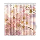JOCHUAN Wohnkultur Bad Vorhang Kirschbaum Blüten Sakura Japanischen Whitefloral Polyester Stoff Wasserdicht Duschvorhang Für Badezimmer, 72 X 72 Zoll Duschvorhänge Haken Enthalten