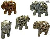 budawi® - Speckstein Elefanten 3er Set, Elefanten Figur mit Baby - Elefant innen, Dekoration Skulptur Glücksbringer