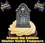 HALLOWEEN RIP Grabstein mit dem Schädel 12 essbare Standup Kuchen-Deko, Kuchendekorationen, essbar, Premium, 2 x A5, für 12 Bilder