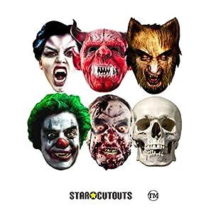Star Cutouts-stsmp69-6máscaras para Adulto Halloween-Talla única