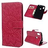 Edauto Motorola Moto One Power / P30 Note Hülle Leder Flip Case Tasche Sonnenblume Wallet Handyhülle Kunstleder Bookstyle Brieftasche Schutzhülle Magnetisch Kartenfach Ständer Handytasche Rose rot