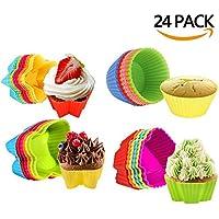 HBlife 24PC pirottini colorati in silicone per Muffin Cupcake Torte Forno Decorazione Baking Cup