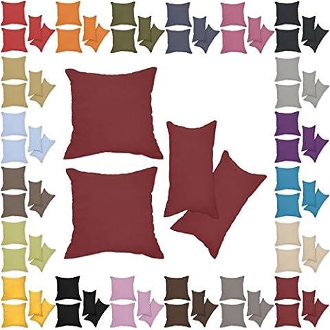 Nurtextil24 Kissenbezüge 2er Set Leinen-Optik 25 Farben und 20 Größen Blickdicht mit Reißverschluss Bordeaux 50 x 60 cm