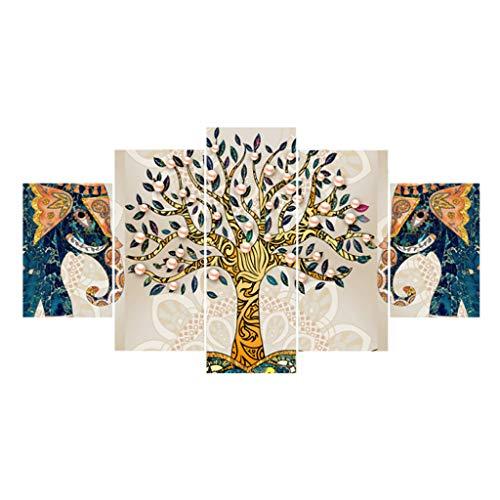 QUANOVO Elefant Baum Druck Leinwand, 5 GemäLde Rahmenlos Tintenstrahl Nordic WandküNstlerresidenz Dekoration Malerei