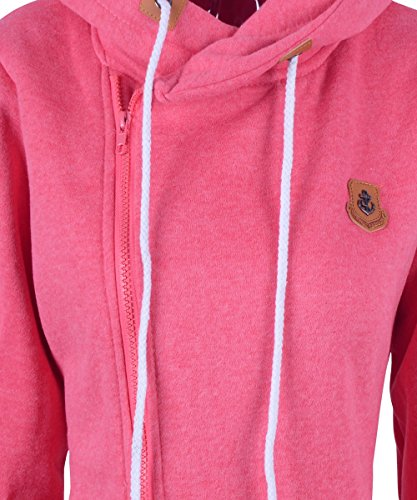 FANTIGO Mode Femmes Automne Hiver Sweats à Capuche Casual Hoodies Pullover Manches Longues Vestes Oblique Zippé Sweat-shirt Rouge