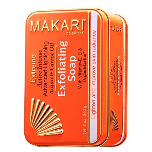 Makari Extrême Savon Éclaircissant aux huiles d'Argan & de Carotte (7 oz.) Action anti-âge éclaircissante et exfoliante à base d'OrganiclarineTM - Soins éclaircissants anti-taches, acné et hyperpigment