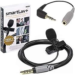 Rode Smartlav+ Micro Lavalier + Adaptateur SC3 TRS-TRRS pour appareil photo et enregistreur audio