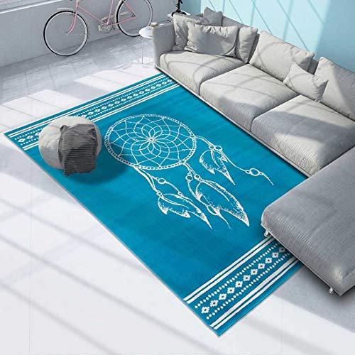 Unamourdetapis - Alfombra de salón Moderna con diseño de atrapasueños, Color Gris, Azul, 60 x 110 cm