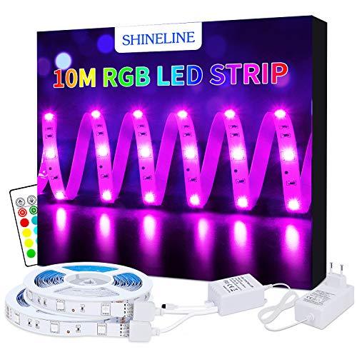 LED Strip 10M Led Streifen SHINELINE 300 LEDs SMD 5050 RGB Led Band mit Fernbedienung 12V DC Netzteil Verbinder für Weihnachten Feiertage Küchen Bar Party Dekoration, MEHRWEG -