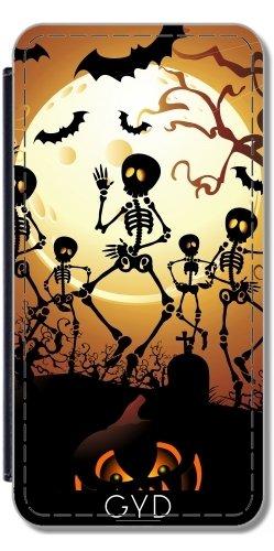 DesignedByIndependentArtists Leder Flip Case Tasche Hülle für Samsung Galaxy S9 (SM-G960) - Skelette Macabre Tanz by BluedarkArt