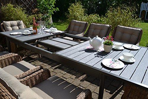 Gartenmöbel Set Como XL-8 Natur-braun Tisch ausziehbar (205/260) Holzdekor mit 8 Sessel Rattan Polyrattan Geflecht