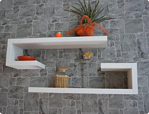 Ve.ca.s.r.l. 2 mensole design ad l in legno di alta qualita' made in italy bianco