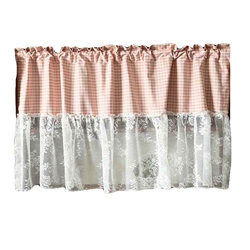 Blancho Pink/Lace - Kurzer Küchenvorhang Half Window Curtain Cafe Vorhang Tier Vorhang (Kurze Gardinenstangen Für Windows)