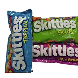 Ultimate Skittles Pack containing Sours, Wildberry, Tropical, Riddles and Darkside