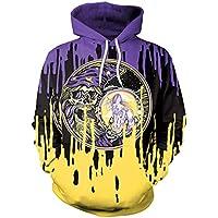 mininess Shirt Mujer Sudadera Punk Hip Hop Cabeza del cráneo Suelto Encapuchado Hoodie, Yellow,