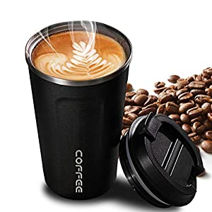 51059wyBt9L. SS300  - Faminess Kaffeebecher für unterwegs Coffee to go Thermobecher schwarz 500 ml aus Edelstahl mit Doppelwand Isolierung 100% auslaufsicher Thermo für Kaffee oder Tee