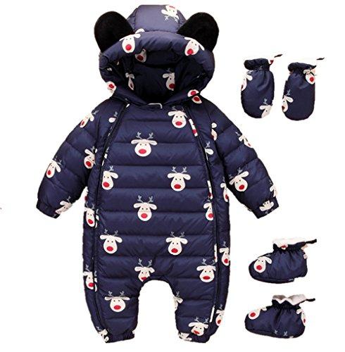 Bom Bom Baby Jungen Mädchen Schneeanzug Overall Winter Baby Kleidung mit Schuhe und Handschuhe (blau,9-12m)