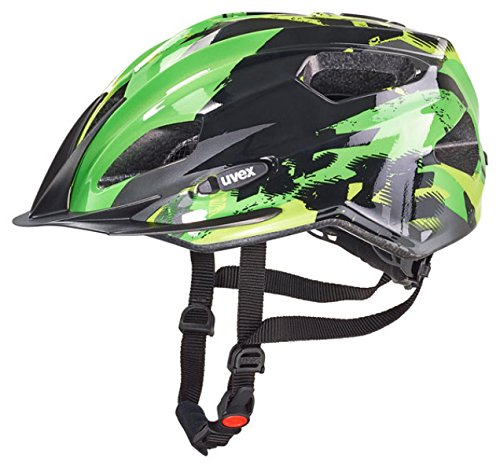 Uvex Kinder Fahrradhelm Quatro Junior, Black-Green, 50-55, 4142571515
