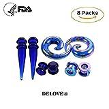 DELOVE Acryl-Ohrenschützer Druck Farbige Ohrringe Piercing Zubehör 8ST,Blue,M