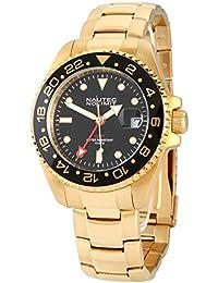 No limit Nautec hombre-reloj analógico jack Fish automáticolink chapado en acero inoxidable JKFS-QZ-GMT-GDGDBKBK