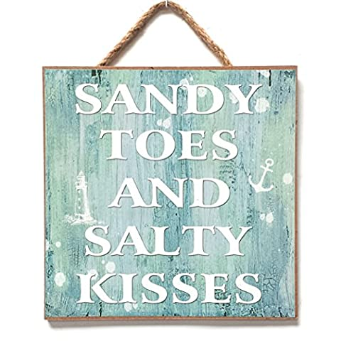 Nautical, Seaside, Marine Themed Hanging Wall Plaque, Sign 20cm x 20cm (SANDY TOES AND SALTY KISSES)