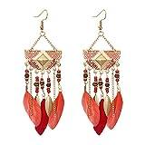 UINGKID Damen Ohrringe Mode Ohrstecker Vintage Frauen böhmische fächerförmige Perlen Quaste Feder