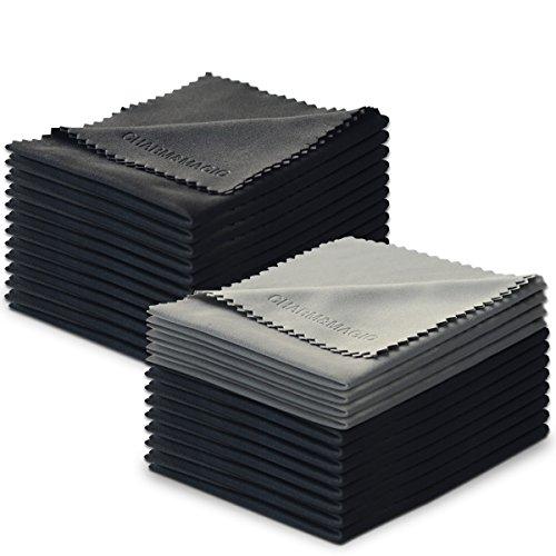 Lot de 24 Charm & Magic Chiffons de Nettoyage en Microfibre pour Nettoyer Lunettes, Caméras,Tablettes, Écrans LCD, Téléviseur, Pare Brise et Autres Surfaces Délicates( 20 Noir + 4 Gris,18 x15 cm)