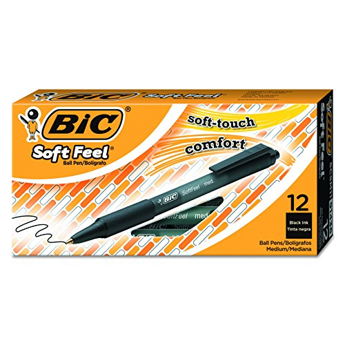 BIC Druckkugelschreiber Soft Feel clic Grip / 12 Kugelschreiber in Schwarz / Strichstärke 0,4 mm / Dokumentenecht