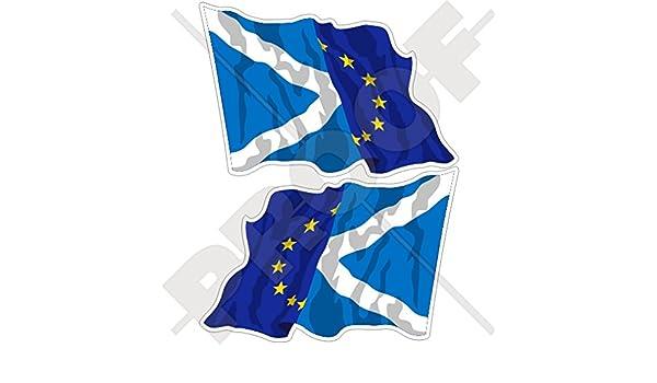 Stickers x2/ europe-scotland Waving Flag 120/mm gauche-droite eu-sco europ/éenne union-scottish 119,4/cm Bumper en vinyle autocollants