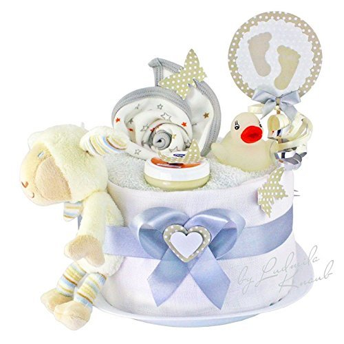 Windeltorte / Pamperstorte > Babygeschenk für Mädchen und Jungen in schönem Weißton // Geschenk zur Geburt, Taufe, Babyparty // originelles und praktisches Geschenk für Babys